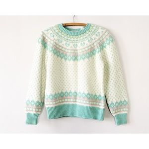 Vintage 80s Pastel Fair Isle Sweater M